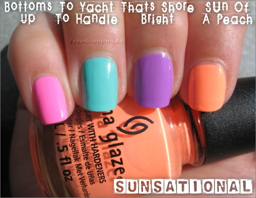 China Glaze Sunsational Swatch von Bottoms Up, Too Yacht To Handle, That's Shore Bright und Sun Of A Peach