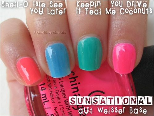 China Glaze Sunsational Lacke auf weißer Base