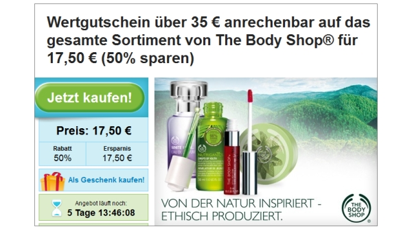 Groupon: 50% Rabatt bei The Body Shop