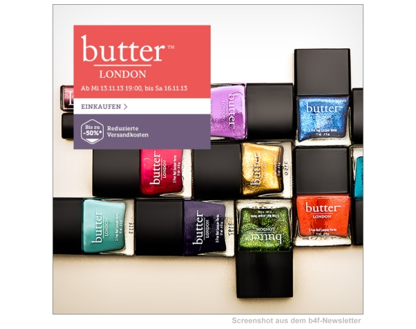 Heute Abend: Butter London bei brands4friends