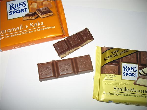 Vergleich von Ritter Sport Karamell + Keks und Vanille-Mousse