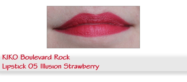Swatch KIKO Rock Idol matter Lippenstift Nr. 05 Illusion Strawberry
