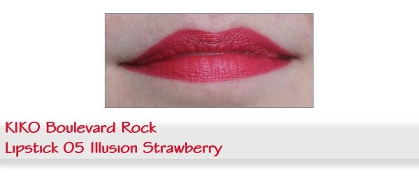 Swatch KIKO Rock Idol matter Lippenstift Nr. 05 Illusion Strawberry