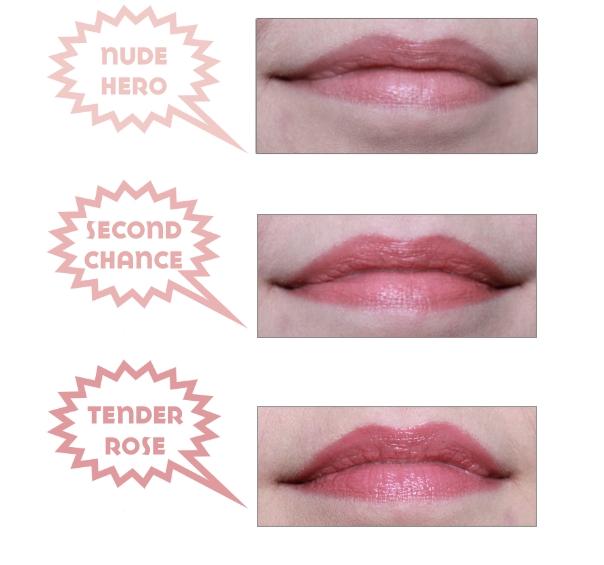 Zoeva Lip Crayons auf den Lippen aufgetragen