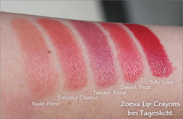 Zoeva Lip Crayons Swatch bei Tageslicht