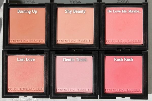 Die sechs Farben der Zoeva Luxe Color Blushes