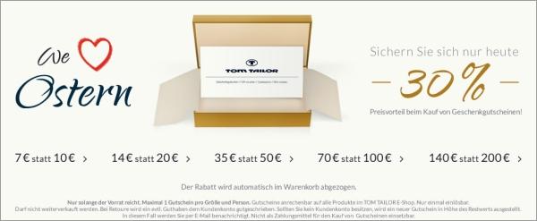 Nur heute Gutscheine bei Tom Tailor mit 30% Rabatt kaufen