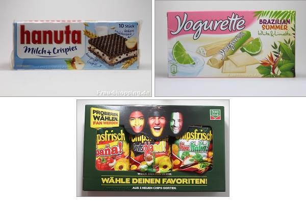 Hanuta Milch Crispies, Yogurette Brazilian Summer und Chipsfrisch Chipswahl