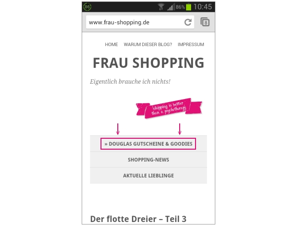 Das neue Blogdesign in der mobilen Version