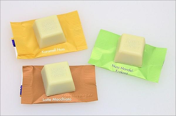 Ritter Sport Schokowürfel weiße Schokolade ausgepackt