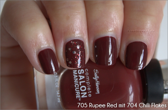 Sally Hansen Rupee Red mit Chili Flakes