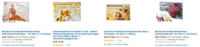 Beauty und Kosmetik Adventskalender 2014 bei Amazon