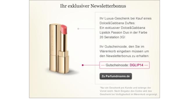 Gratis Geschenk zu jeder Bestellung Parfumdreams.de