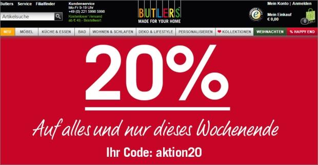 20% Rabatt bei Butlers