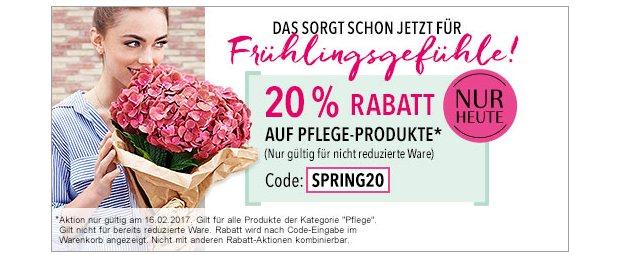 20% Rabatt auf Pflege Produkte auf douglas.de