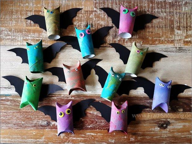 Selbstgebastelte Fledermäuse für Halloween