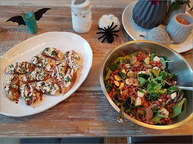 Salat und Häppchen für Halloween