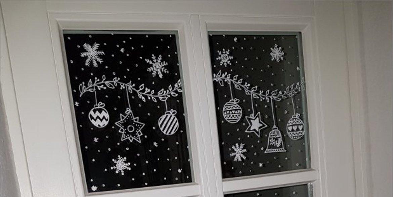 weihnachtliche fensterbilder mit kreidestift. Black Bedroom Furniture Sets. Home Design Ideas