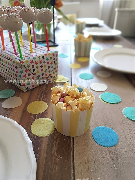 Popcorn für die Gäste zum 3. Geburtstag