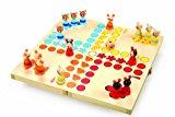 """Ludo """"Tiere"""" aus Holz, Gesellschaftsspiel für die ganze Familie, mit kleinen Tierchen als Spielfiguren, zusammenklappbares Spielbrett mit Stauraum für die Spielfiguren, ab 4 Jahre"""