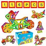Crenova Magnetische Bausteine Regenbogen Set 95 Teile Inspirierender Standard Bausatz-Kreative und Pädagogische Spielzeuge-Riesenrad & Aufbewahrungstasche
