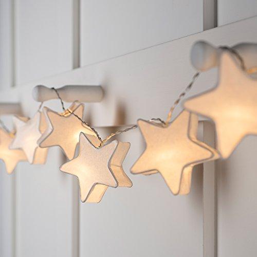 10er LED Papier Sternen Lichterkette warmweiß batteriebetrieben Innen Lights4fun