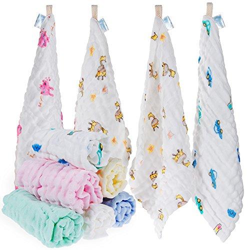 Lictin 10pcs Baby Musselin Waschlappen Baby-Feuchttücher 100% Baumwolle Baby Handtuch Musselin Waschlappen weiche Handtuch für Kinder, 30 * 30 CM