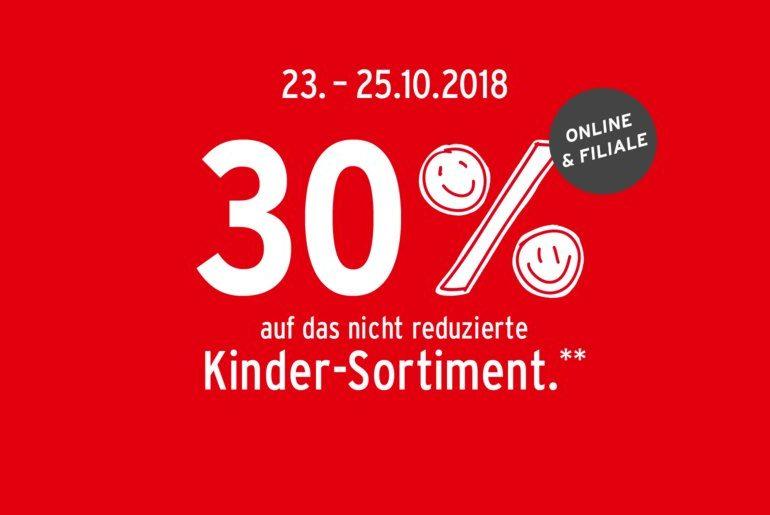 30% Rabatt auf Kinderkleidung bei Ernstings Family