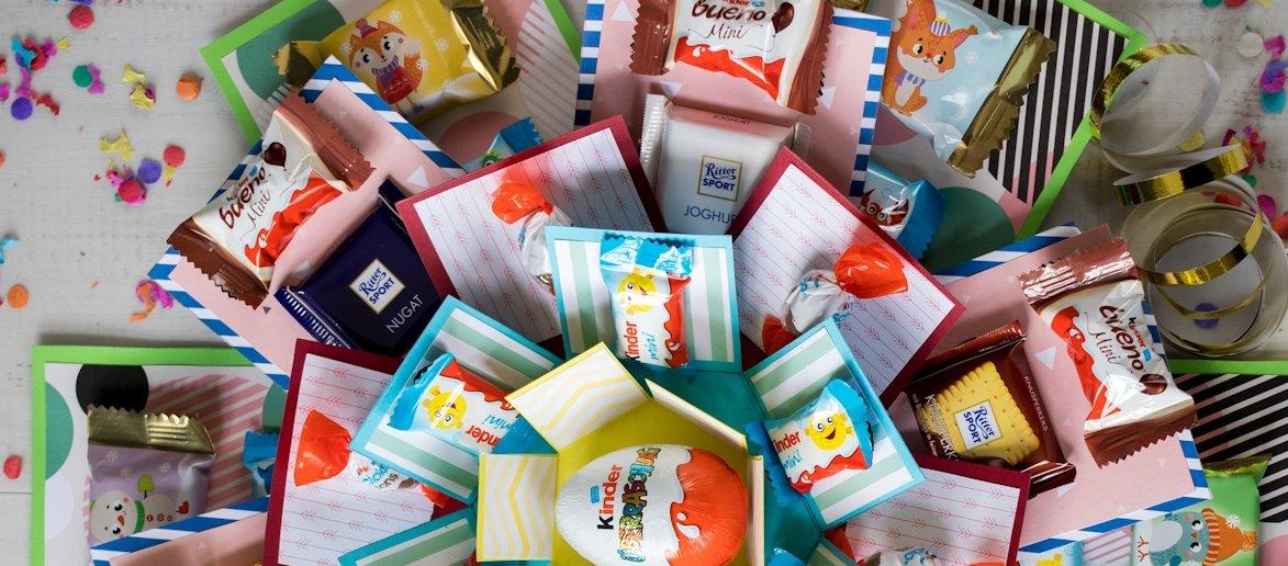 Weihnachtsbasteln Mit Süßigkeiten.Diy Kinder Explosion Box Mit Süßigkeiten
